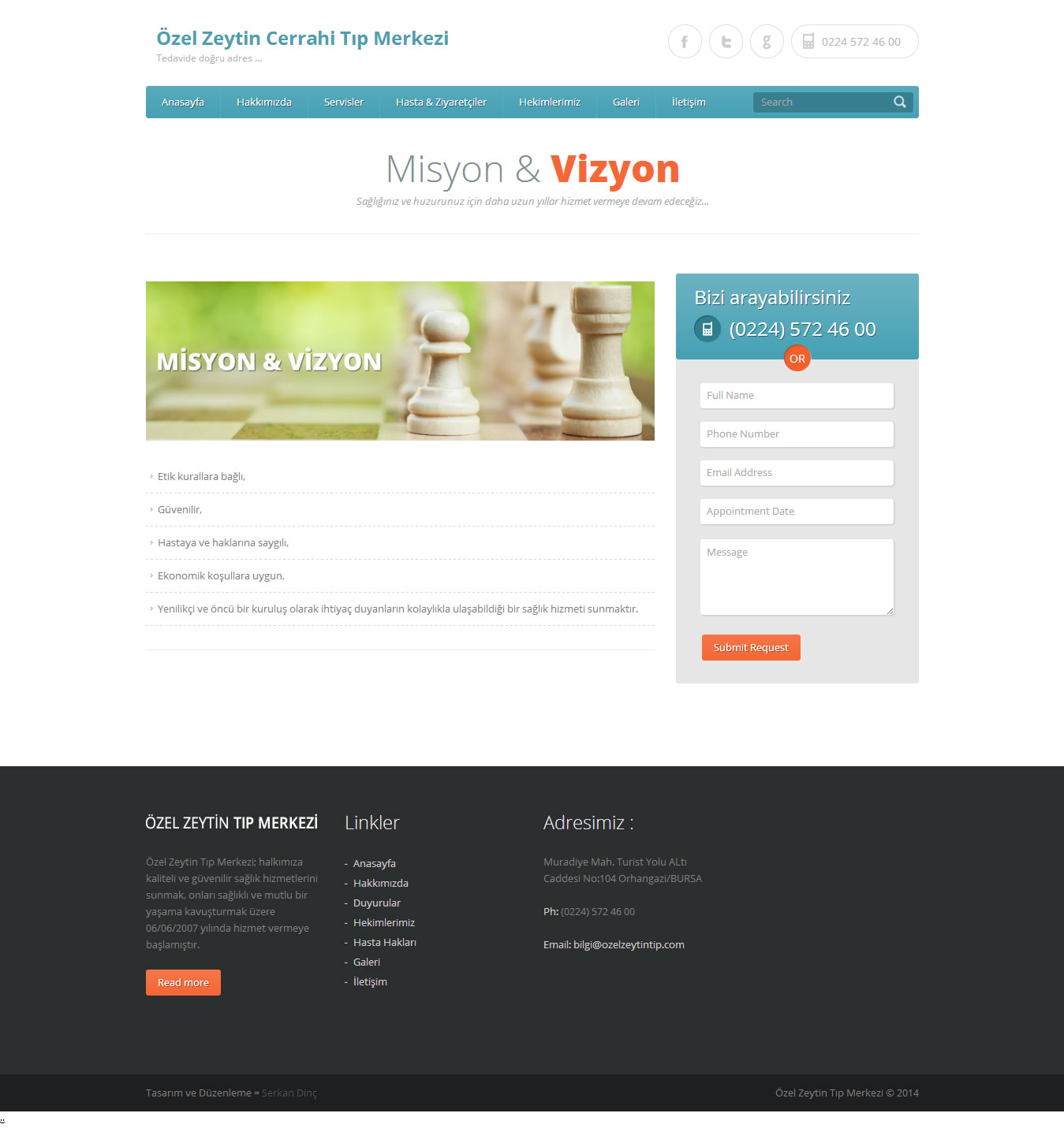 Özel Zeytin Tıp Merkezi Web Sitesi