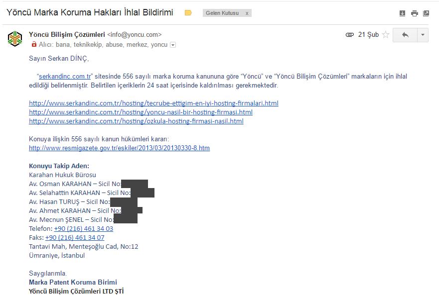 Yöncü bilişim marka ihlali bildirim maili